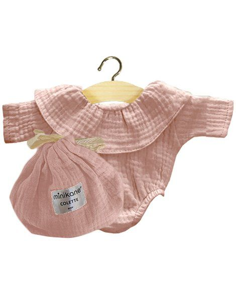 Minikane, Frilly Body Cotton Double Gaze (Rose Tendre)