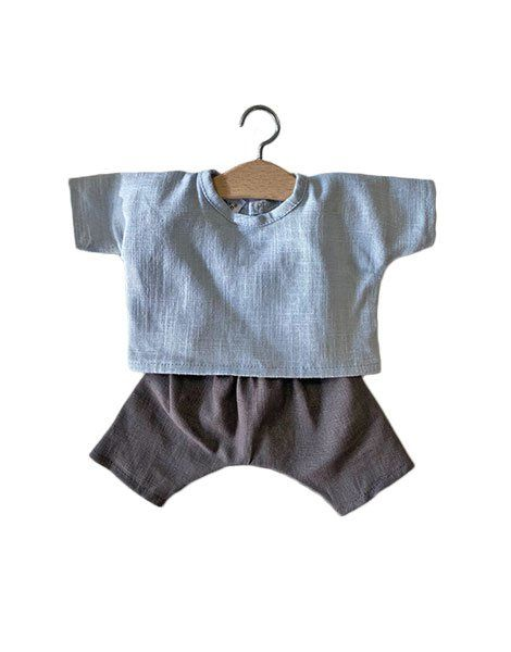 Minikane, Blue Linen Top with  Charcoal Grey Trousers Set