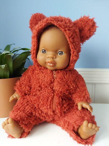 Minikane, Winnie Faux Fur Jumpsuit - Brick