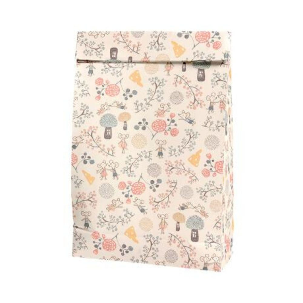Maileg, Gift Bag W Party Mice and Floral Pattern (Medium)