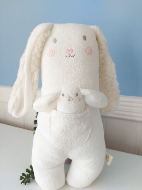 Albetta, Bunny Towelling Toy  With Baby Bunny in Pocket
