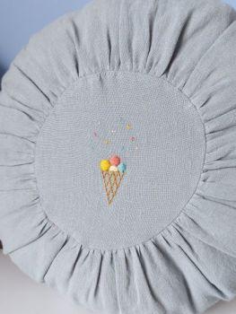 Maileg, Round Cushion Blue with Ice-cream