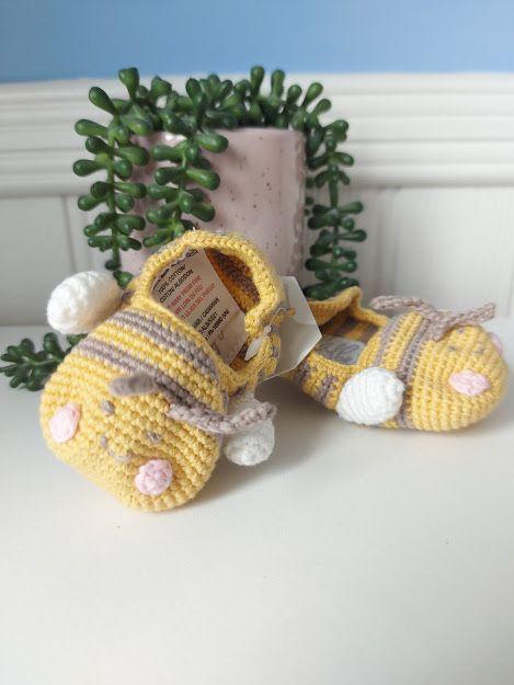 Albetta, Crochet Baby Bee Booties (3-6mths)