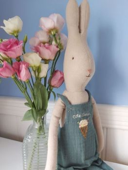 Maileg, Size 4 Rabbit in Dusty Blue Jumpsuit (Ice cream)