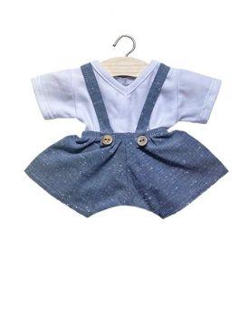 Minikane, 2 Piece set White Top and Blue Shorts with Straps