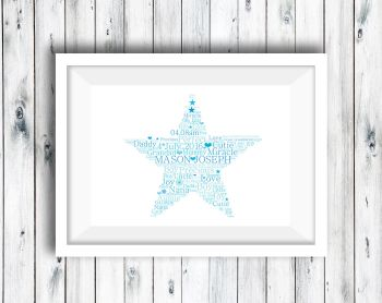 Word Art Print - Star - Personalised