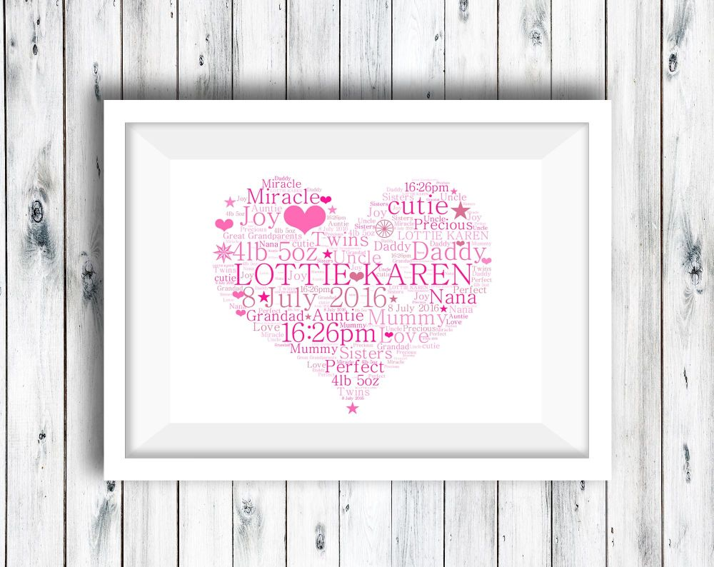 Heart  - Word Art Print