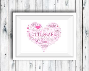 Word Art Print - Heart - Personalised