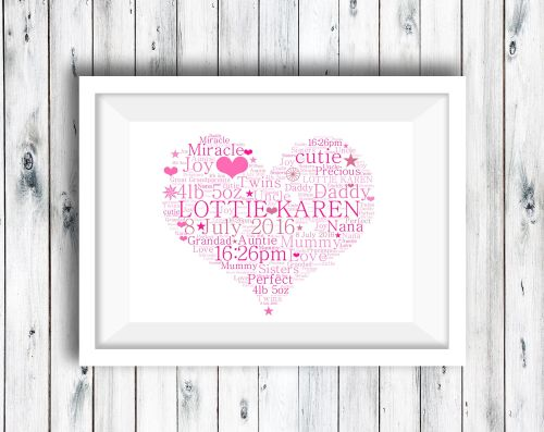 Heart  - Word Art Print