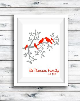 Bird Family Print Personalised