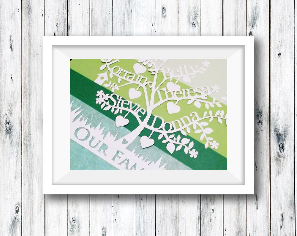 Family Tree - A4 Papercut Personalised