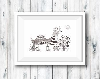 Bird Animal Pen and Pencil Illustration -  Print from Original