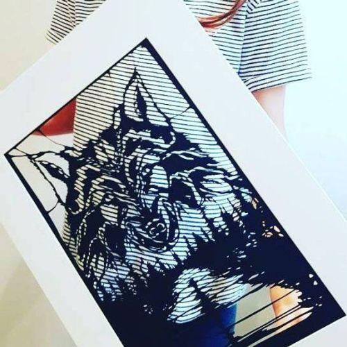 Wolf Papercut