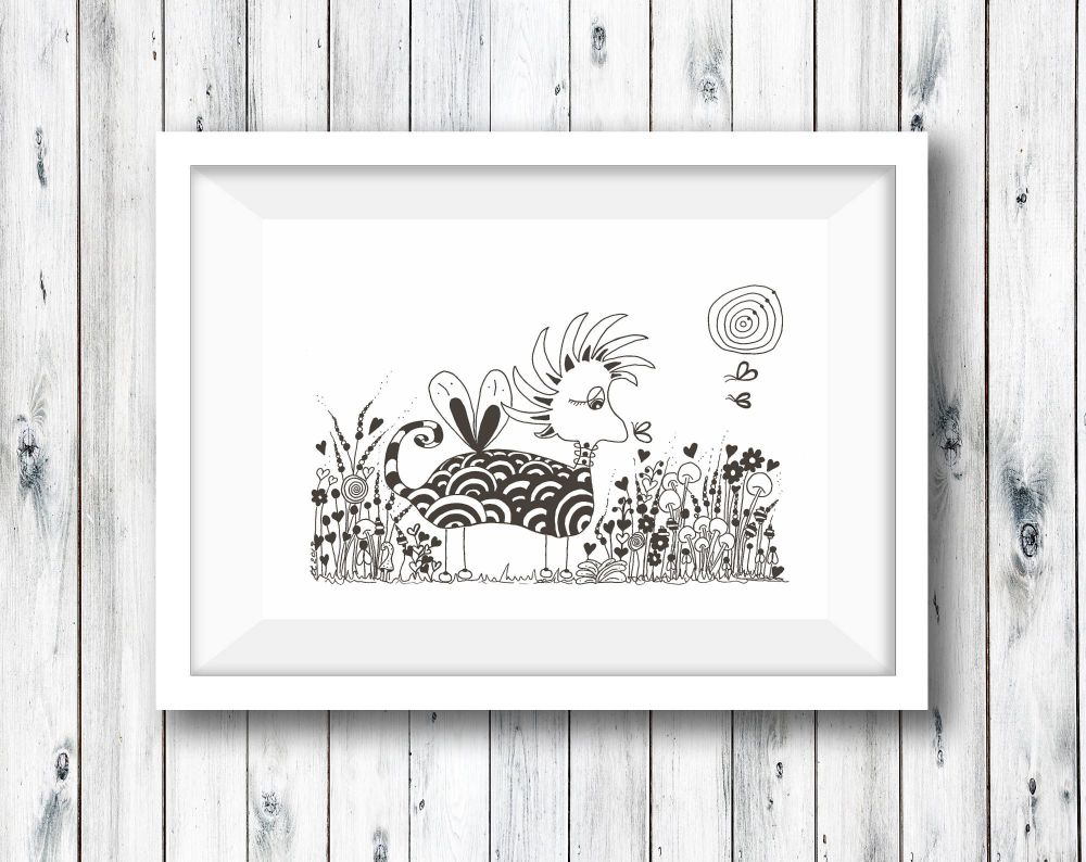 Doodle Animal Pen and Pencil Illustration -  Print from Original