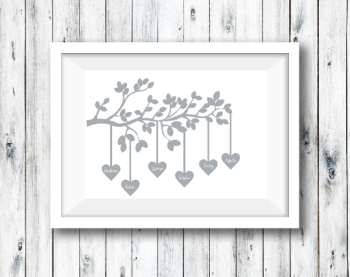 Hanging Hearts Family Print Personalised