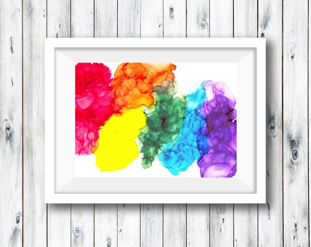 Abstract Art Ink Painting - Rainbow
