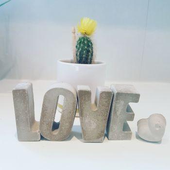 Hand Cast Concrete Word - LOVE