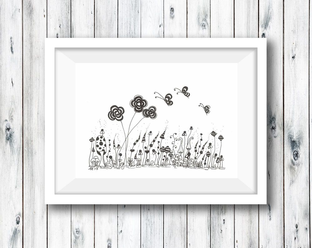 Doodle Butterfly Pen and Pencil Illustration -  Print from Original