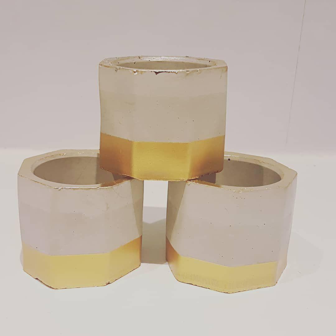 Hand Cast Concrete Pots - Gold