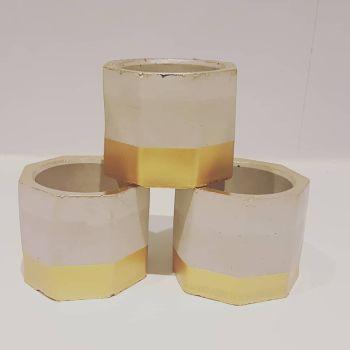 Hand Cast Concrete Pots - Gold set of 3