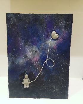 Mixed Media - Galaxy Man Concrete on Canvas