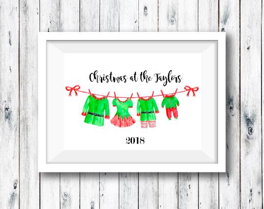 Personalised Family Elf Print