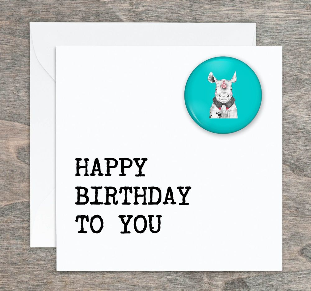 Rhino Pin Badge Birthday Card
