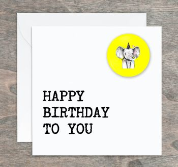 Elephant Pin Badge Birthday Card