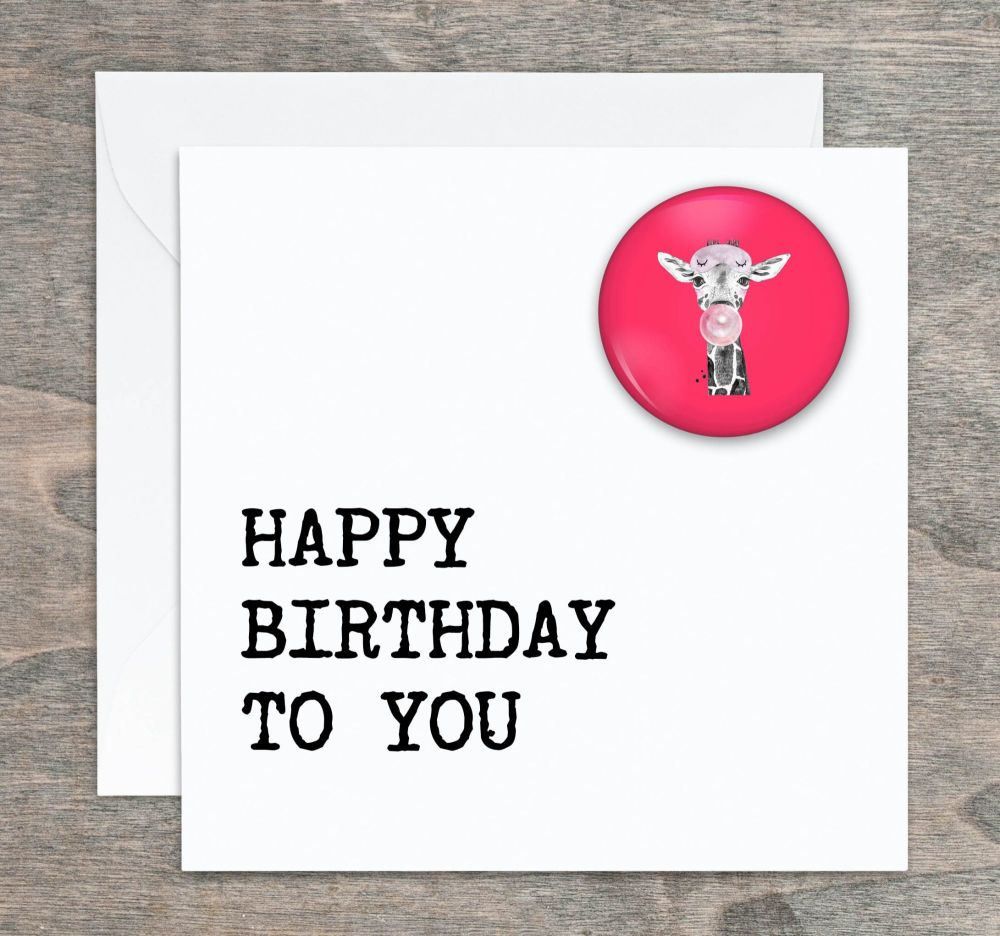 Giraffe Pin Badge Birthday Card