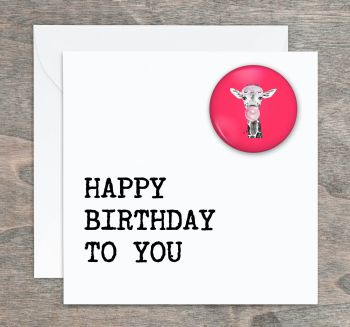 Giraffe Cub Pin Badge Birthday Card