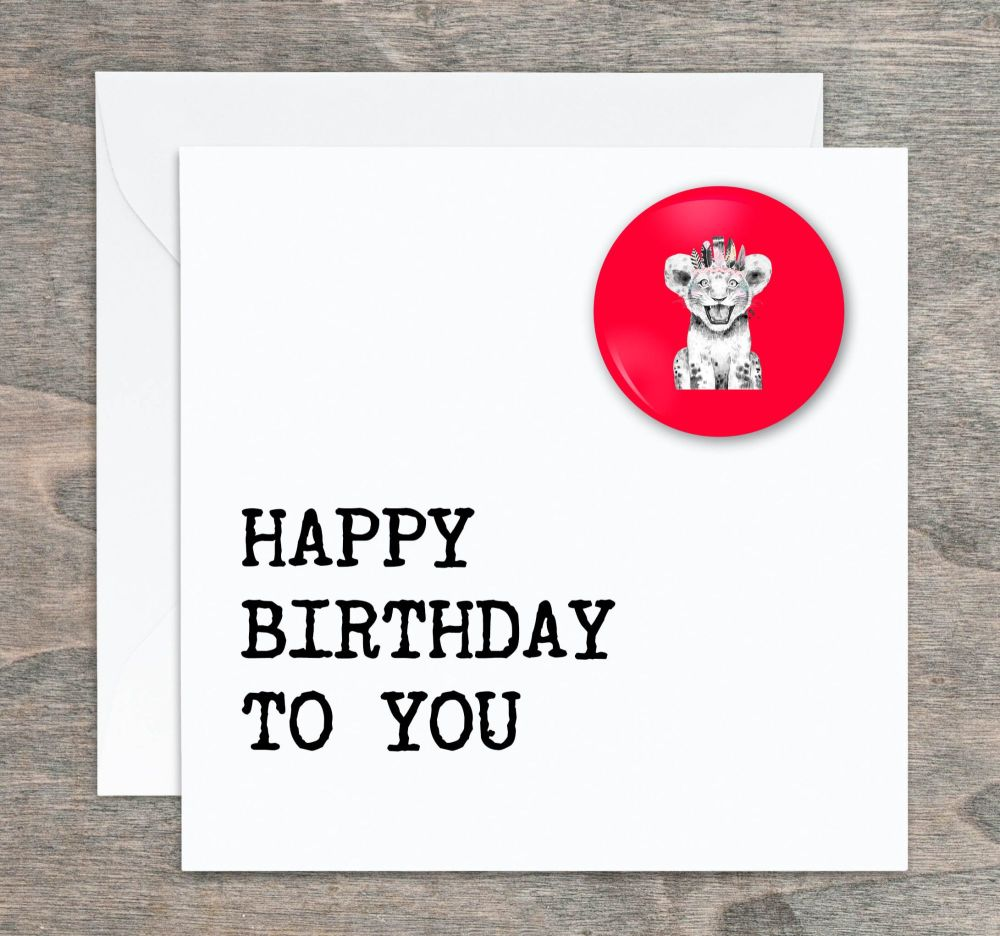 Lion Cub Pin Badge Birthday Card