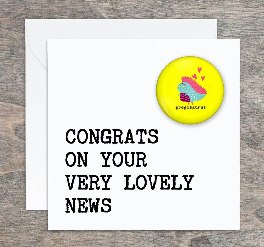 Pregosaurus Congratulations Card