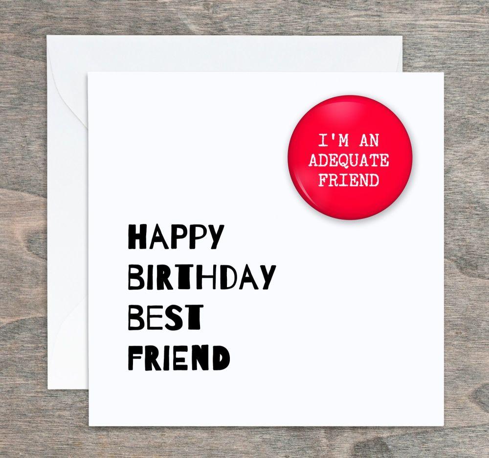 Best Friend Badge Birthday Card