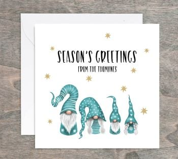 Gnome Family Personalised Christmas Cards