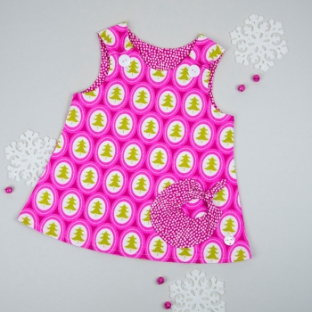 Christmas Pink Tree Bubble Pocket Dress