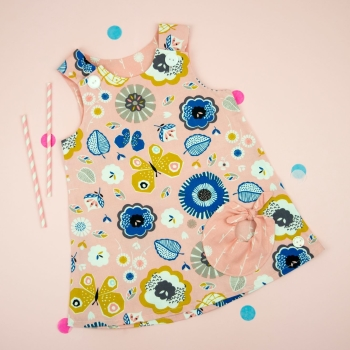 Pink Flower Bubble Pocket Dress