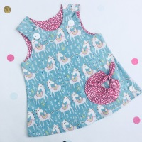 Blue Unicorn Bubble Pocket Dress