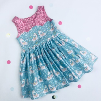 Blue Unicorn Party Dress