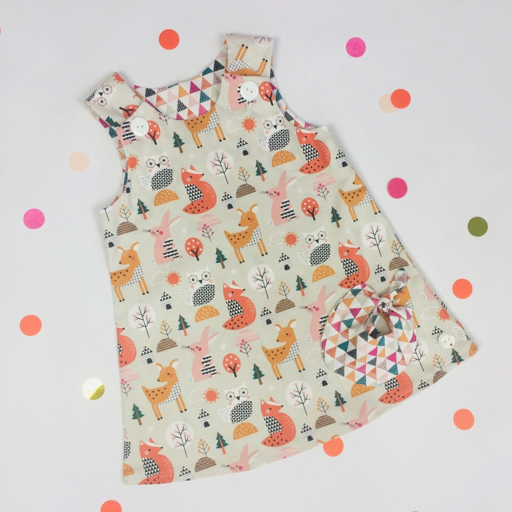 Geo Forest Bubble Pocket Dress