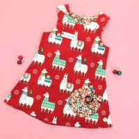Christmas Llama Bubble Pocket Dress