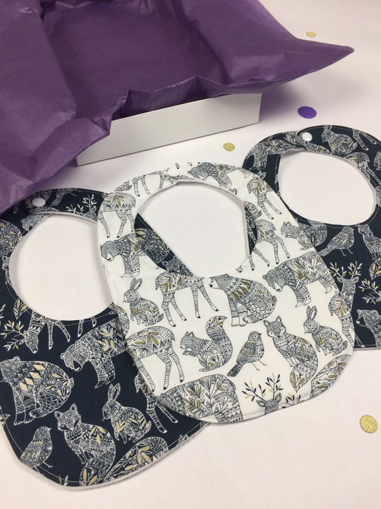 Monochrome Woodland Bib Set
