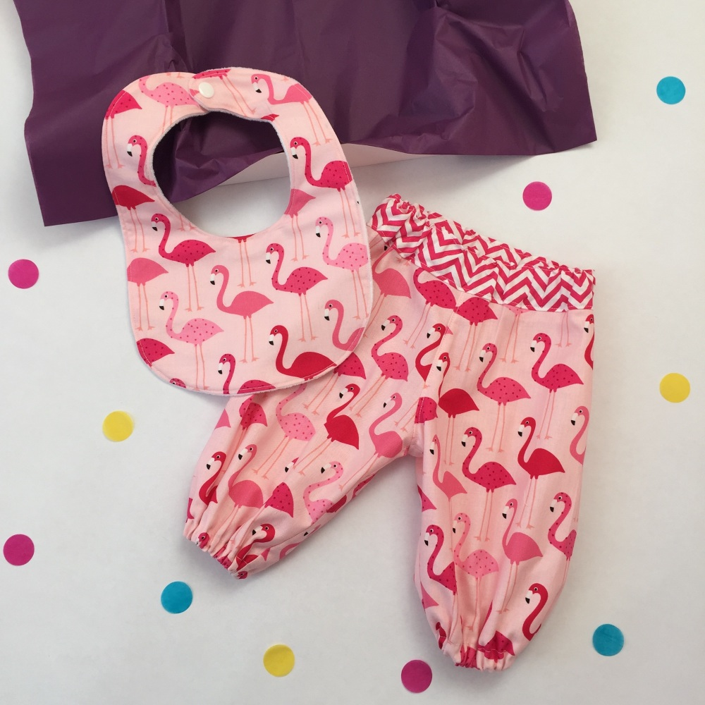 Flamingo Harems and Bib Gift Set