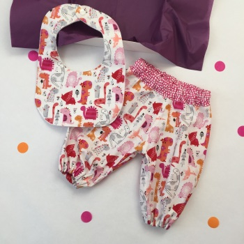 Pink Dinosaur Harems and Bib Gift Set