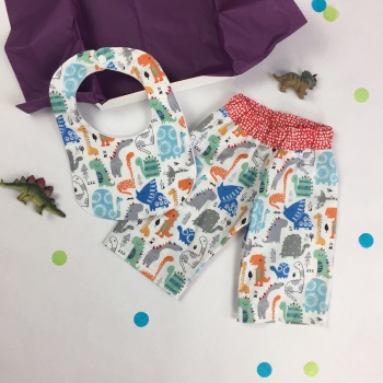 Dinosaur Trousers and Bib Gift Set