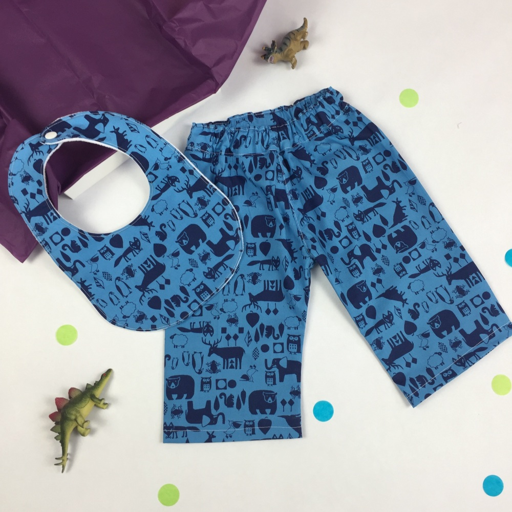Woodland Animal Trousers and Bib Gift Set
