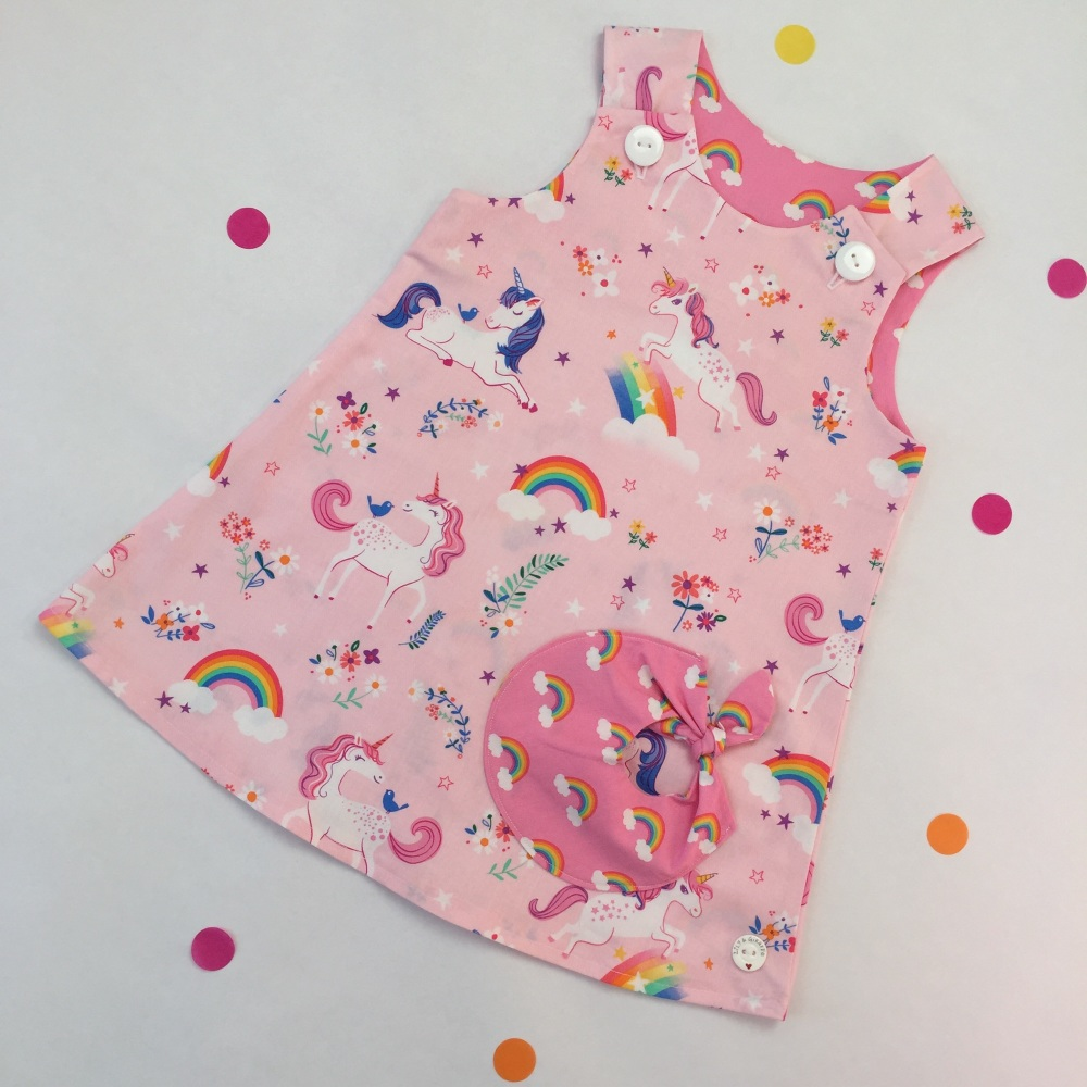 Pink Unicorn Bubble Pocket Dress