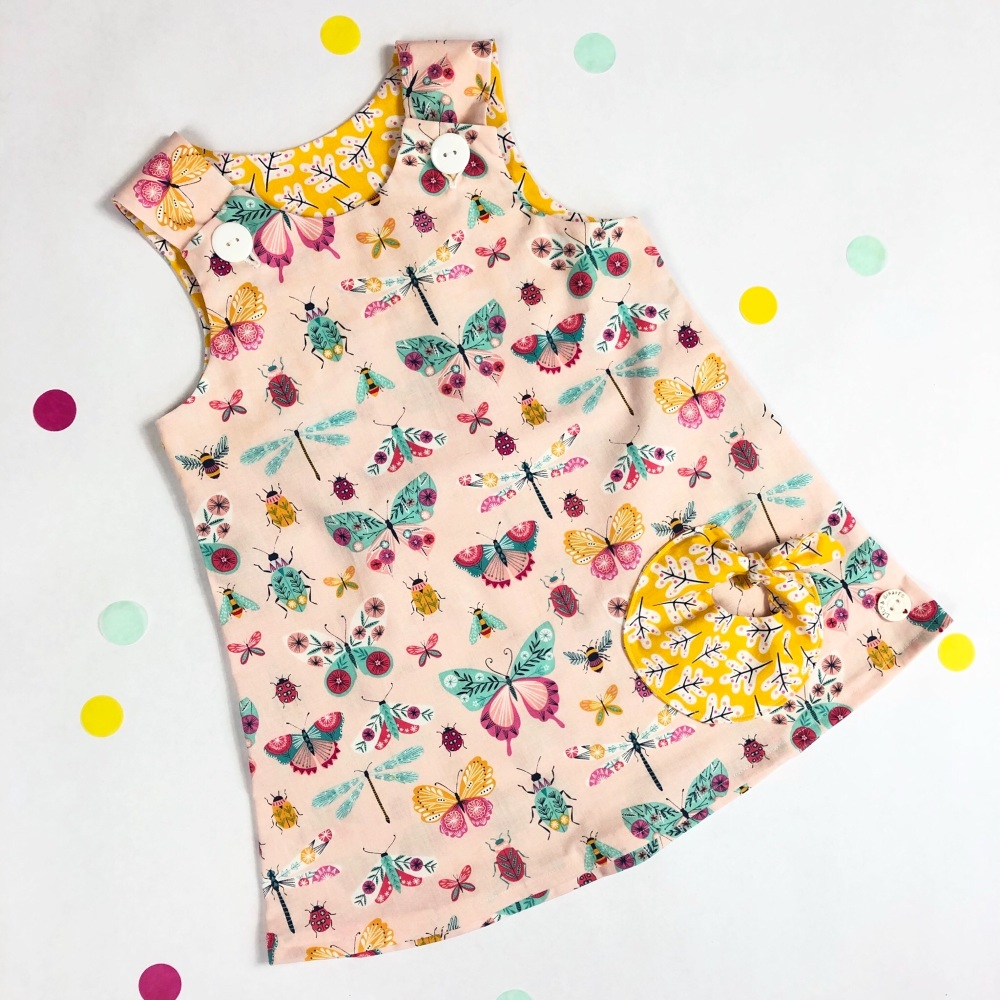 Pink Butterfly Bubble Pocket Dress