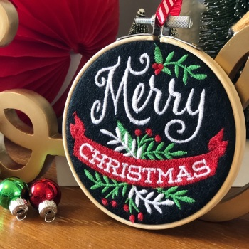 Chalkboard Style Merry Christmas Hoop Decoration