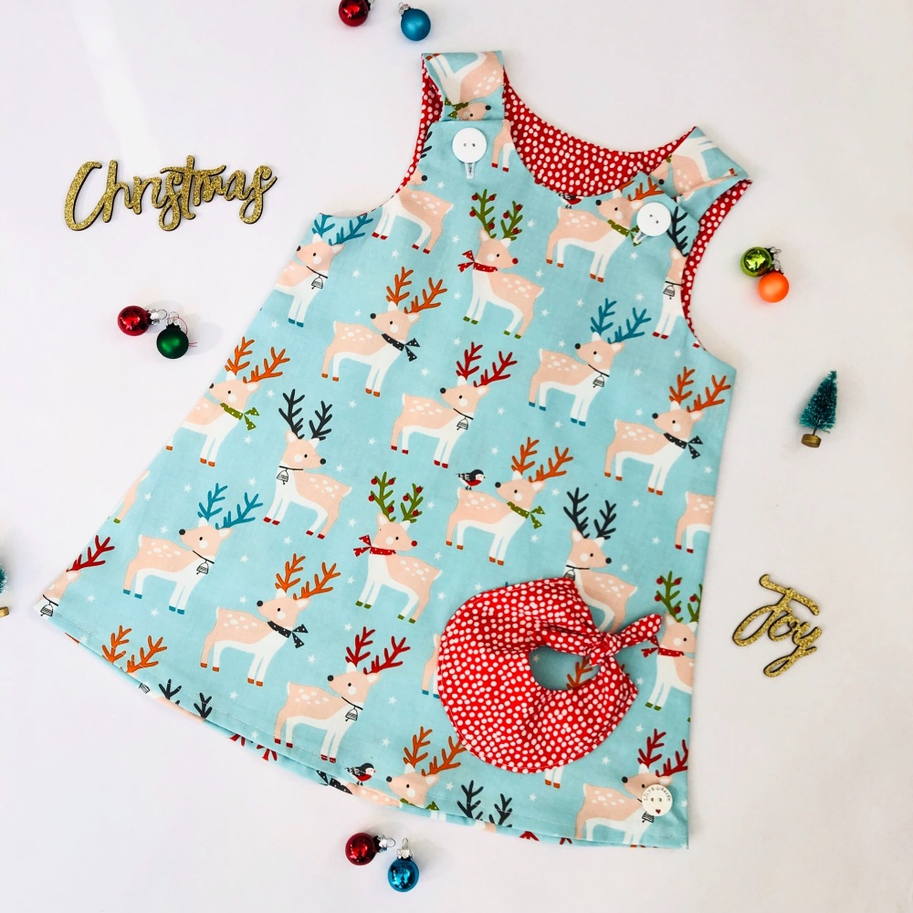 Christmas Deer Bubble Pocket Dress