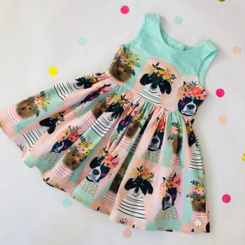 Floral Dogs Party Dress